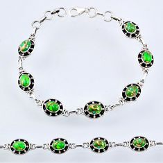 9.78cts green copper turquoise oval 925 silver tennis bracelet jewelry r55039