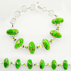 48.40cts green copper turquoise peridot 925 silver tennis bracelet r27473