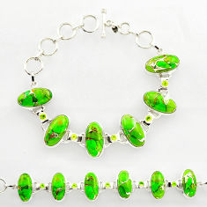 47.65cts green copper turquoise peridot 925 silver tennis bracelet r27474