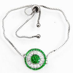 4.30cts green emerald (lab) topaz 925 silver adjustable bracelet jewelry c9706