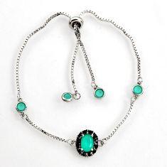 5.13cts green emerald (lab) topaz 925 sterling silver adjustable bracelet c9677