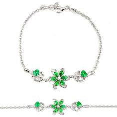 5.62cts green russian nano emerald topaz sterling silver bracelet a30055 c24957