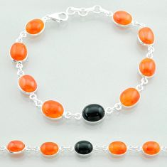 Clearance Sale- 26.19cts halloween natural cornelian (carnelian) onyx silver bracelet t57640