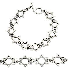 18.06gms indonesian bali style solid 925 silver star of david bracelet c9906