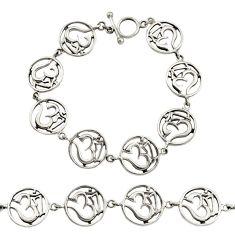 19.89gms indonesian bali style solid 925 silver symbol om bracelet c9901