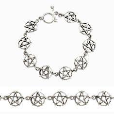 17.69gms indonesian bali style solid 925 silver wicca symbol bracelet c9881