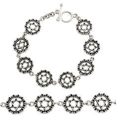 19.48gms indonesian bali style solid 925 silver wicca symbol bracelet c9903