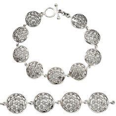 19.48gms indonesian bali style solid 925 sterling silver flower bracelet c9902