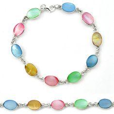 Multi color blister pearl enamel 925 silver tennis bracelet a39611 c13885