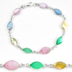 Multi color blister pearl enamel sterling silver tennis bracelet a56014 c13859