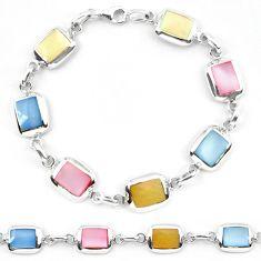 Multi color blister pearl enamel sterling silver tennis bracelet a56126 c13846
