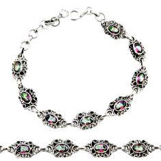 Clearance Sale- 7.87cts multi color rainbow topaz 925 sterling silver tennis bracelet d44268