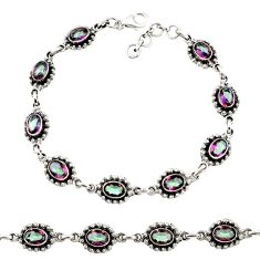 Clearance Sale- 14.03cts multi color rainbow topaz 925 sterling silver tennis bracelet d44276