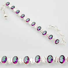 20.22cts multi color rainbow topaz 925 sterling silver tennis bracelet r87079