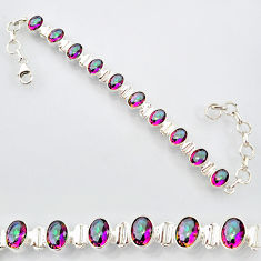 20.22cts multi color rainbow topaz 925 sterling silver tennis bracelet r87087