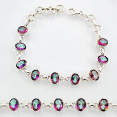 19.14cts multi color rainbow topaz 925 sterling silver tennis bracelet r87088