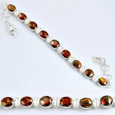 32.76cts natural ammolite (canadian) 925 silver tennis bracelet jewelry r60927