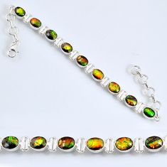 19.62cts natural ammolite (canadian) 925 silver tennis bracelet jewelry r60929