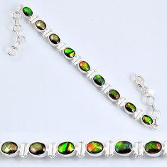 19.25cts natural ammolite (canadian) 925 silver tennis bracelet r60931
