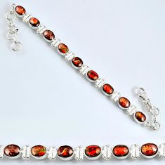 21.22cts natural ammolite (canadian) oval 925 silver tennis bracelet r60924