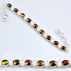 22.54cts natural ammolite (canadian) oval 925 silver tennis bracelet r60928