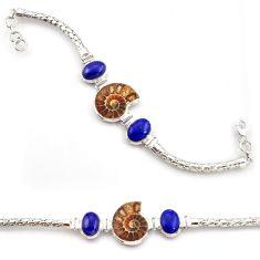 31.04cts natural ammonite fossil lapis lazuli 925 silver tennis bracelet d45851
