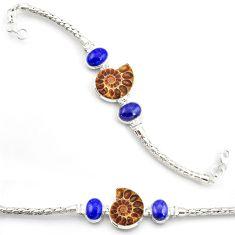 35.97cts natural ammonite fossil lapis lazuli 925 silver tennis bracelet d45852