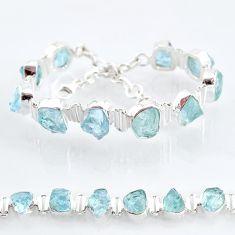 33.33cts natural aqua aquamarine raw 925 silver tennis bracelet t6692