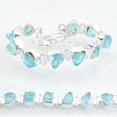 37.47cts natural aqua aquamarine raw 925 silver tennis bracelet t6695