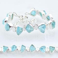 37.16cts natural aqua aquamarine raw 925 silver tennis bracelet t6698
