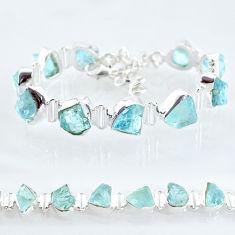37.11cts natural aqua aquamarine raw 925 silver tennis bracelet t6699