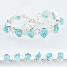 35.27cts natural aqua aquamarine raw 925 silver tennis bracelet t6700