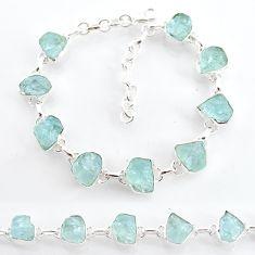 36.72cts natural aqua aquamarine raw 925 sterling silver tennis bracelet t6739