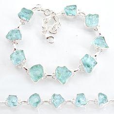 34.52cts natural aqua aquamarine raw 925 sterling silver tennis bracelet t6740