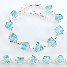 32.04cts natural aqua aquamarine raw 925 sterling silver tennis bracelet t7816