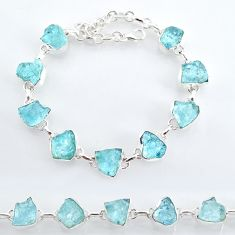 35.38cts natural aqua aquamarine raw 925 sterling silver tennis bracelet t7818