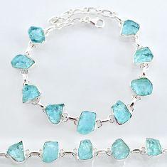 32.86cts natural aqua aquamarine raw 925 sterling silver tennis bracelet t7819
