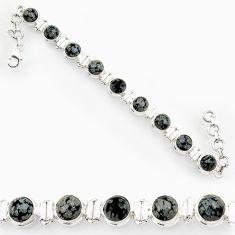 Clearance Sale- 27.23cts natural black australian obsidian 925 silver tennis bracelet d44329