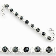 Clearance Sale- 27.23cts natural black australian obsidian 925 silver tennis bracelet d44330