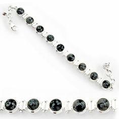 Clearance Sale- 26.64cts natural black australian obsidian 925 silver tennis bracelet d44331