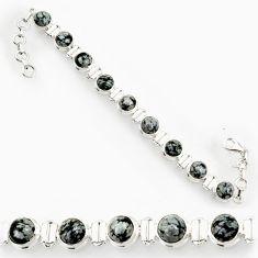 Clearance Sale- 26.93cts natural black australian obsidian 925 silver tennis bracelet d44332