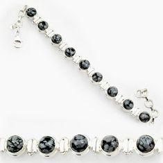 Clearance Sale- 27.01cts natural black australian obsidian 925 silver tennis bracelet d44334