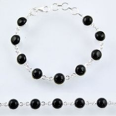 23.72cts natural black onyx 925 sterling silver tennis bracelet jewelry r55092