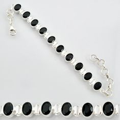 21.04cts natural black onyx 925 sterling silver tennis bracelet jewelry r87100