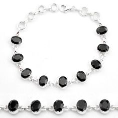 18.98cts natural black onyx 925 sterling silver tennis bracelet jewelry t4585