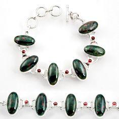 52.19cts natural bloodstone african (heliotrope) silver tennis bracelet d44391