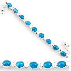 Clearance Sale- 39.01cts natural blue apatite (madagascar) 925 silver tennis bracelet d44348