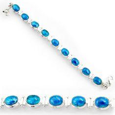 Clearance Sale- 38.44cts natural blue apatite (madagascar) 925 silver tennis bracelet d44349