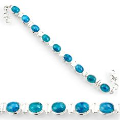 Clearance Sale- 39.29cts natural blue apatite (madagascar) 925 silver tennis bracelet d44351