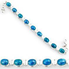 Clearance Sale- 37.79cts natural blue apatite (madagascar) 925 silver tennis bracelet d44352